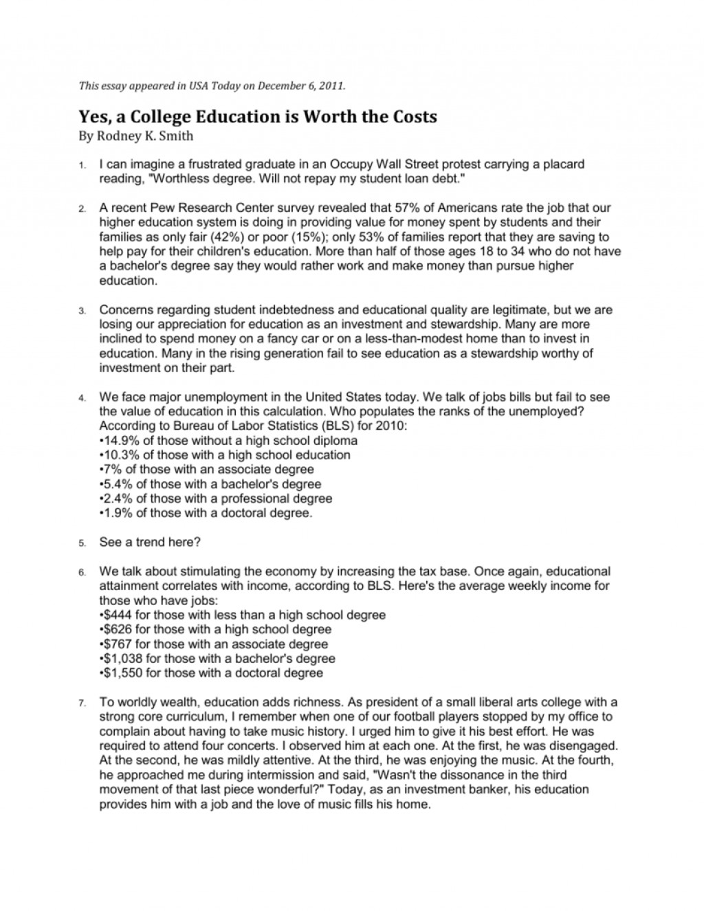 001 007214147 1 Is College Education Worth It Essay Stunning A The Cost Argumentative Large