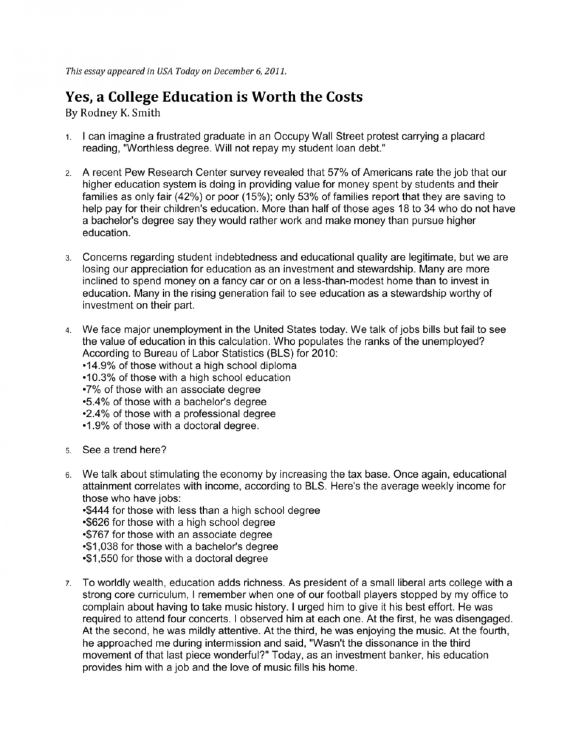 001 007214147 1 Is College Education Worth It Essay Stunning A The Cost Argumentative 1920