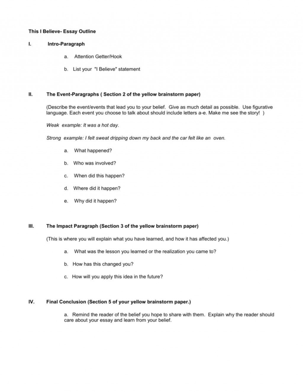 001 007820321 2 Essay Example This I Believe Impressive Outline Large
