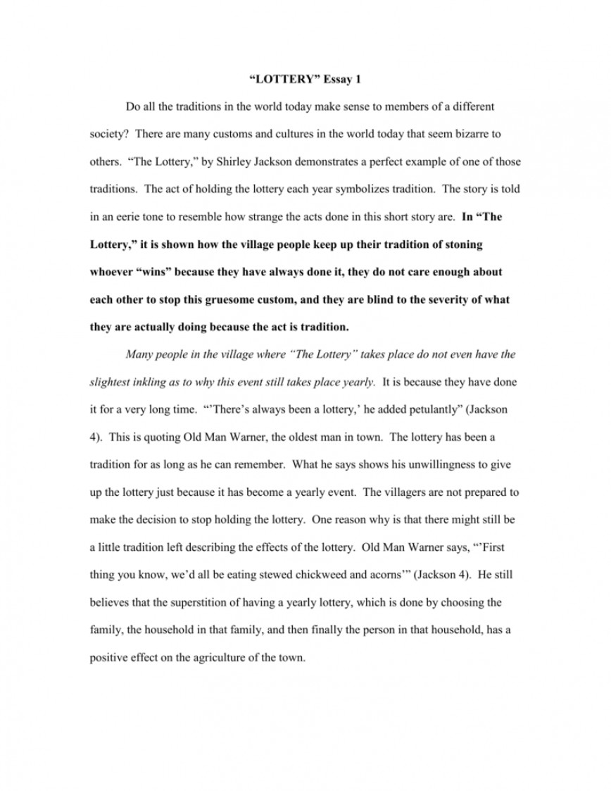 001 008060199 1 The Lottery Essay Amazing Titles Conclusion