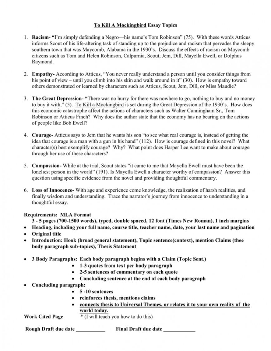 001 009245800 1 Essay Example To Kill Mockingbird Surprising A Prompts Pdf Questions Prejudice Topics
