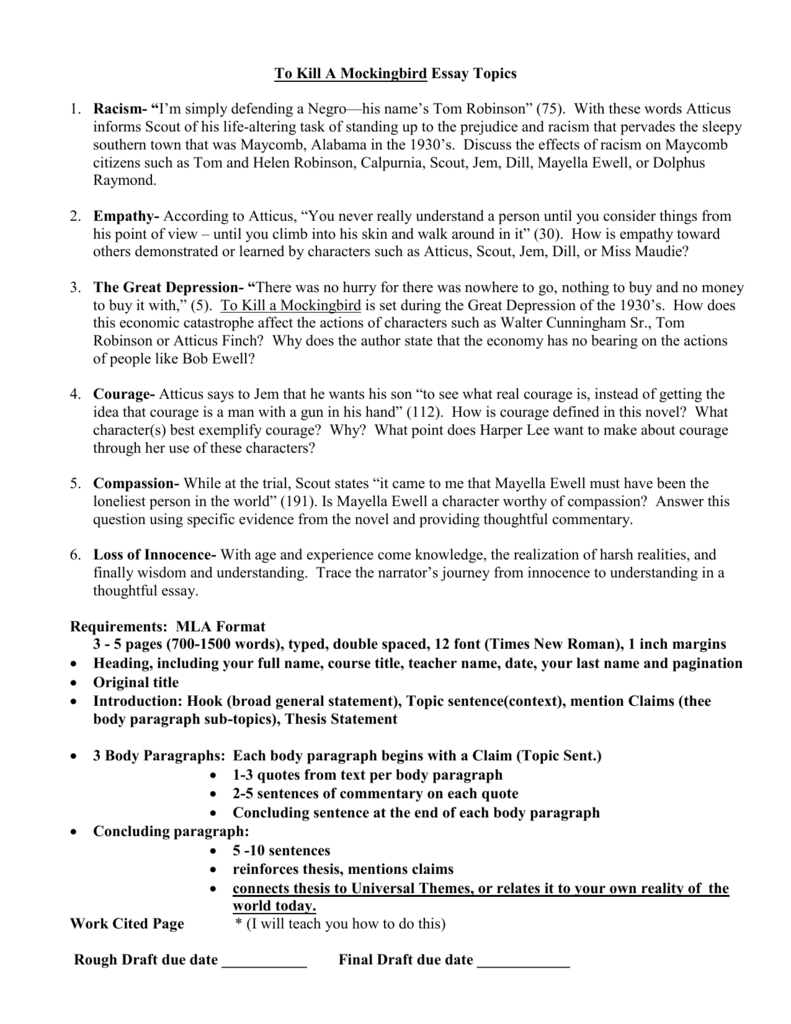001 009245800 1 Essay Example To Kill Mockingbird Stunning A Topics Writing Prompts By Chapter Research Paper Pdf Full