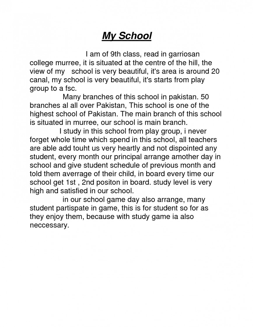 Essay on my school for kids
