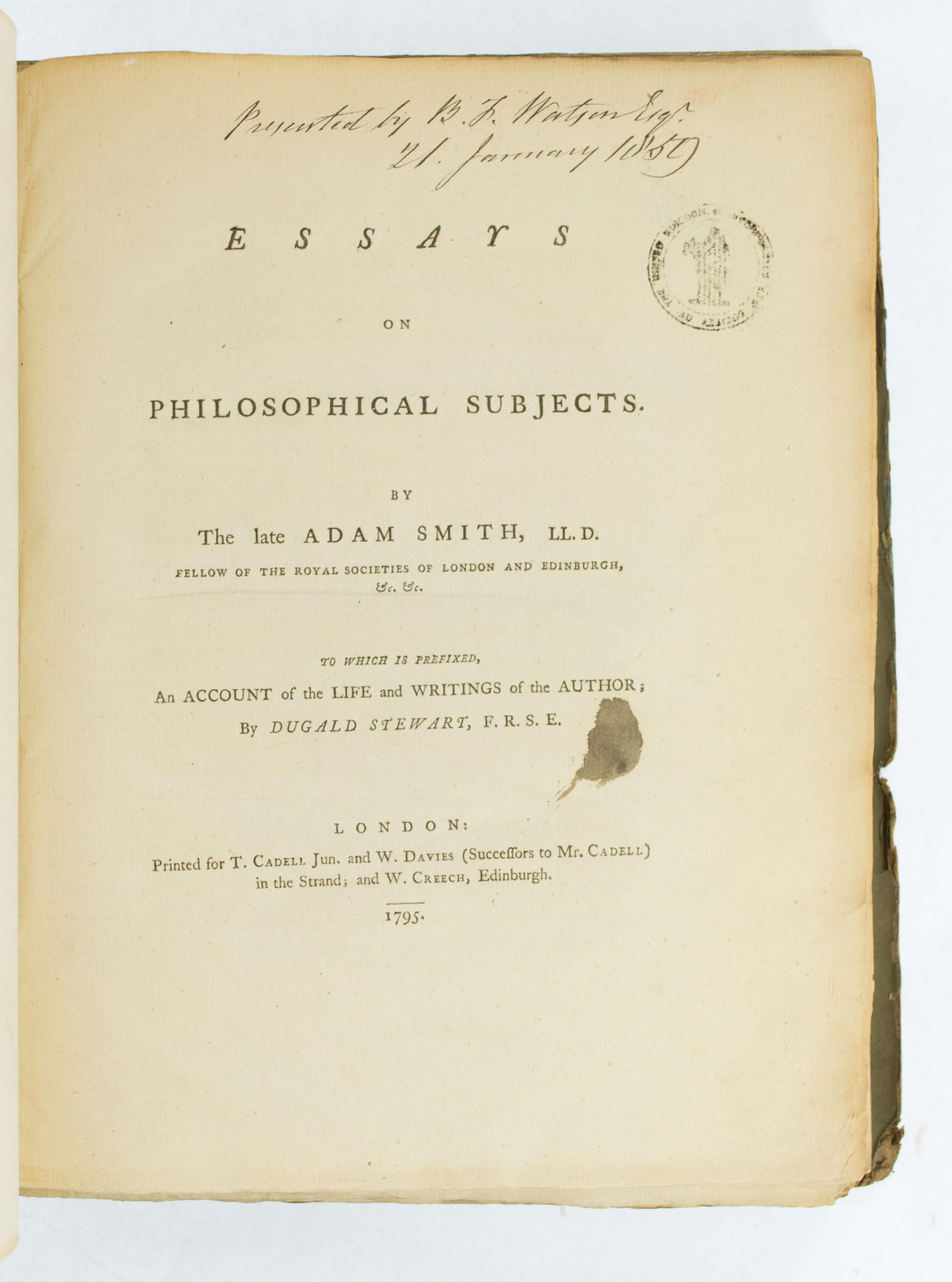 001 66518 2 Essays On Philosophical Subjects Essay Best Summary Adam Smith 1920