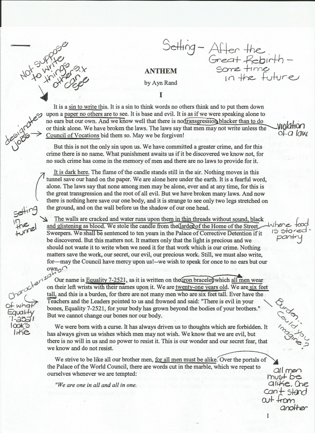 001 Anthem20annotations20example201 Essay Example Service To Others Archaicawful Jrotc Large