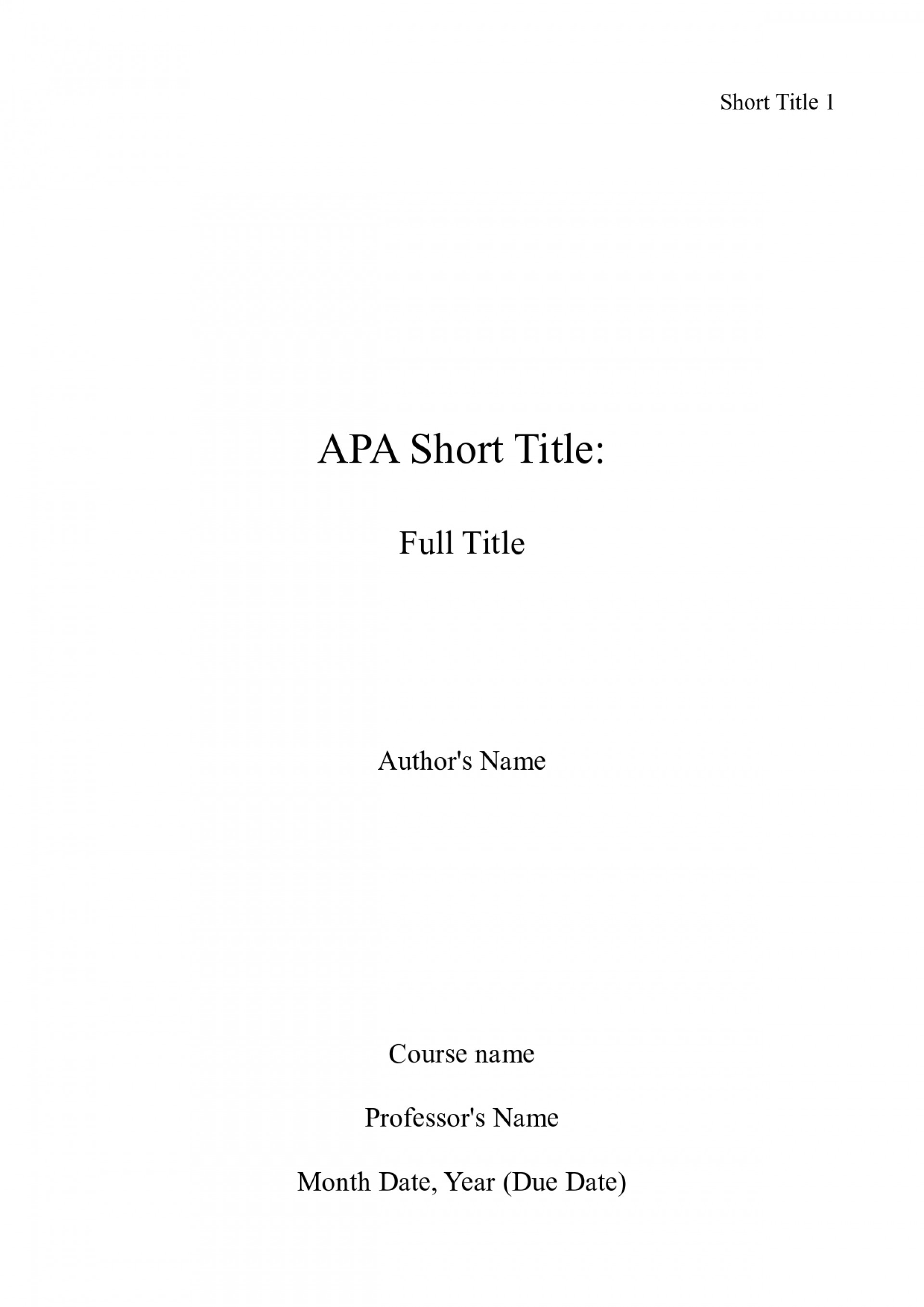 001 Apa Title Page Sample Essay Example Cover Sheet Shocking For Word An Format Mla 1920