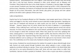 example of argumentative essay about facebook