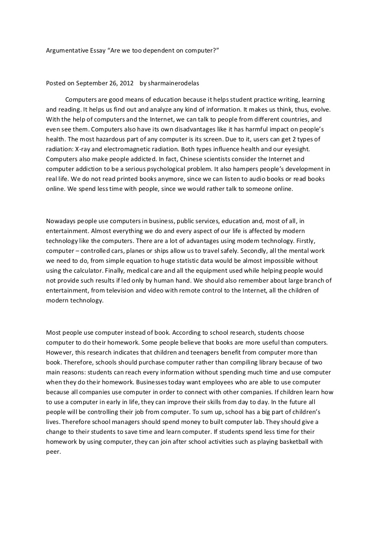 001 Argumentative Essay On Technology Argumentativeessay Phpapp01 Thumbnail Unusual And Education Dependence In The Classroom Full