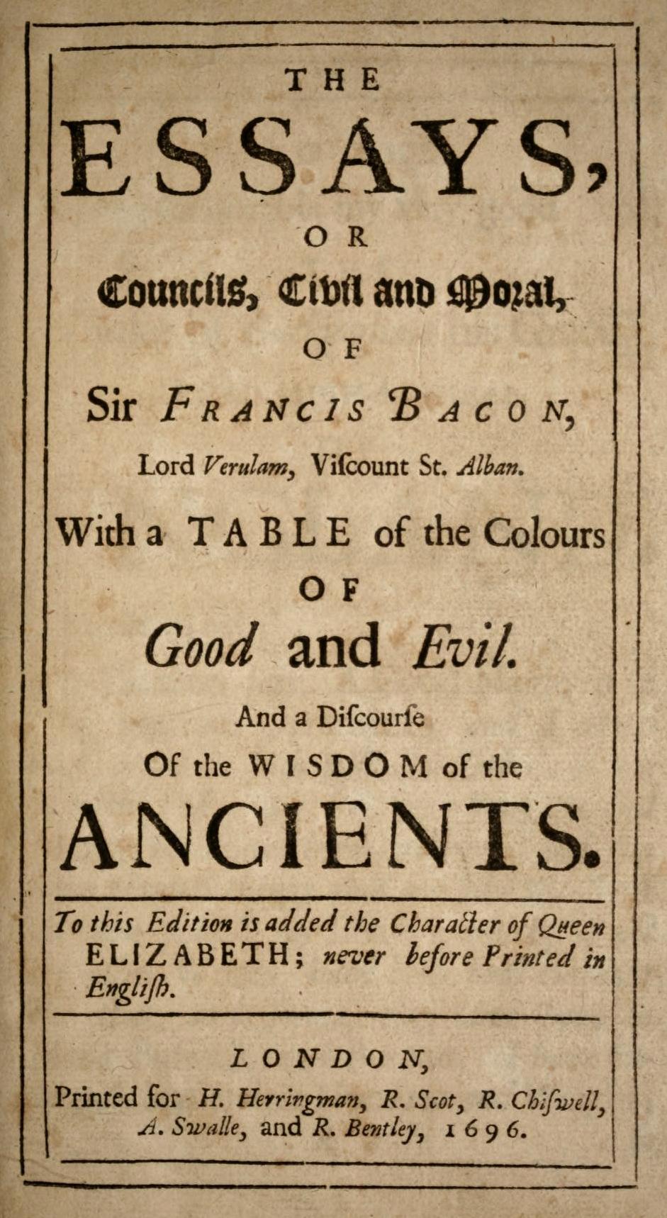 001 Bacons Essays Bacon 1696 Essay Amazing Francis Google Books Of Truth Quiz Bacon's Summary Full