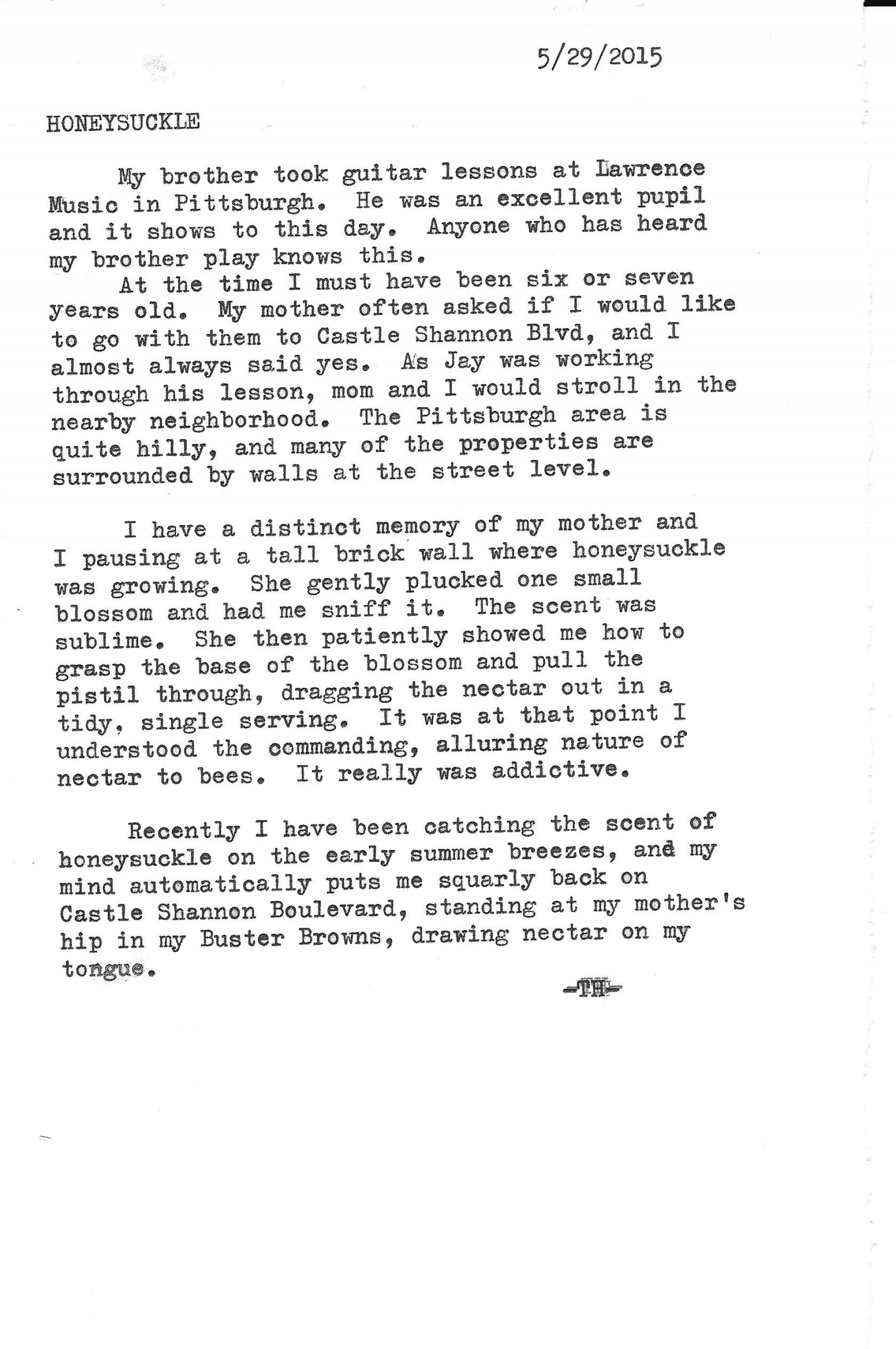 001 Childhood Memory Essay Honeysuckle Top Ideas Earliest My Memories Example 1920