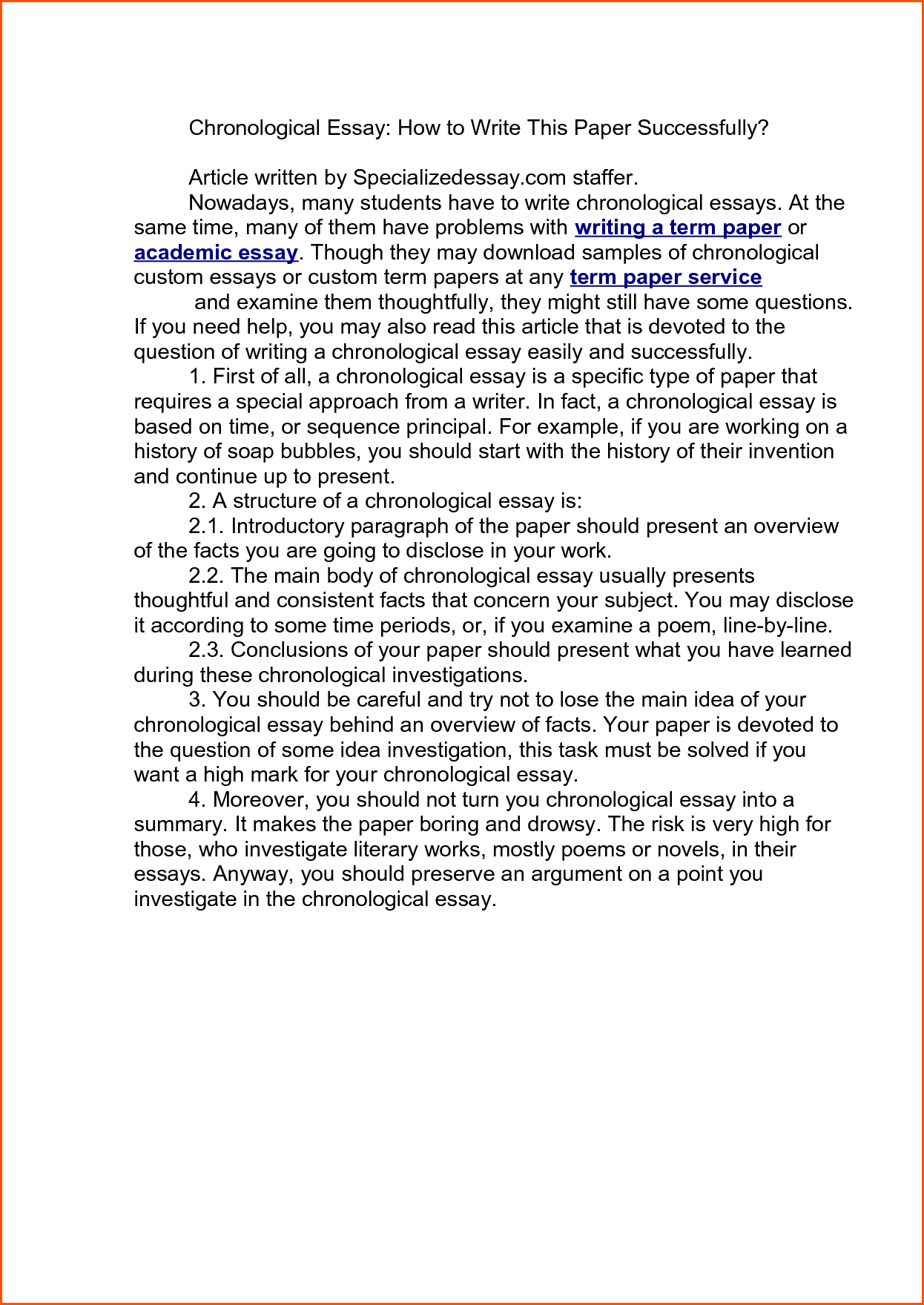 001 chronological order essay examples sample organization topics