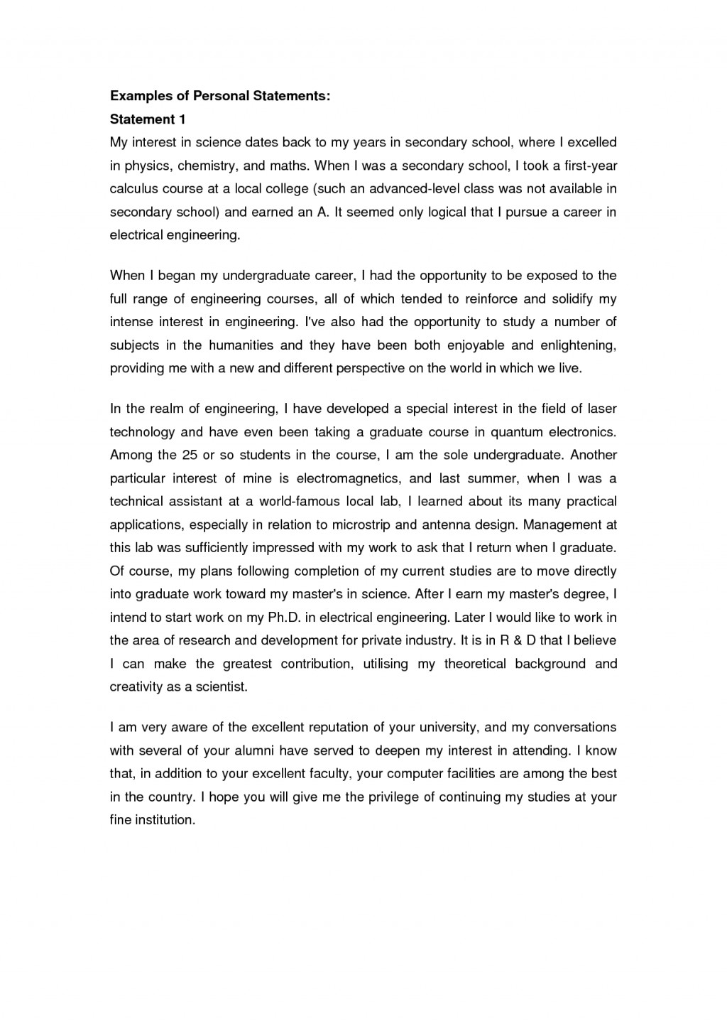 001 College Personal Statement Essays Marvelous Essay Examples Large