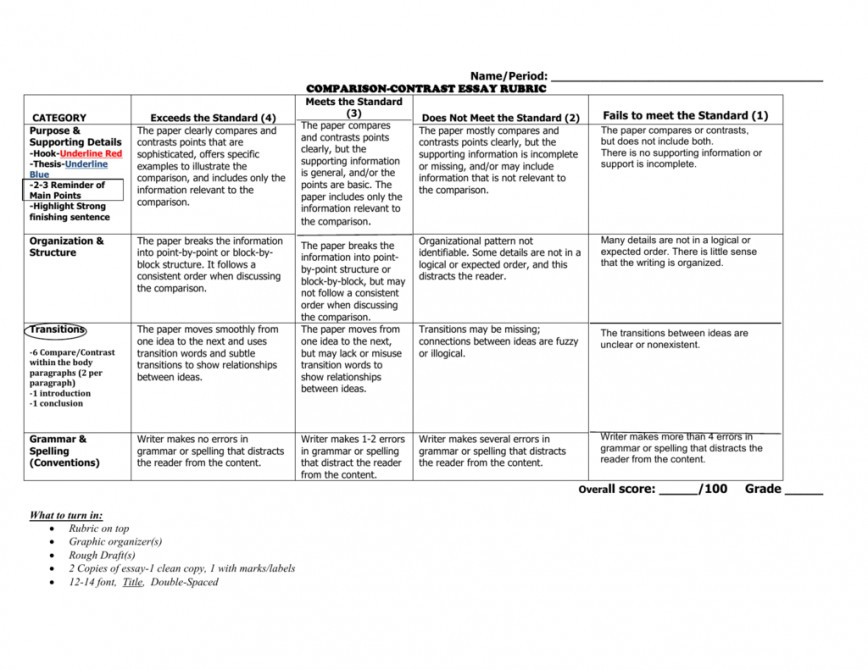 001 Compare And Contrast Essay Rubric Example 007352296 1 Wondrous 3rd Grade High School 868