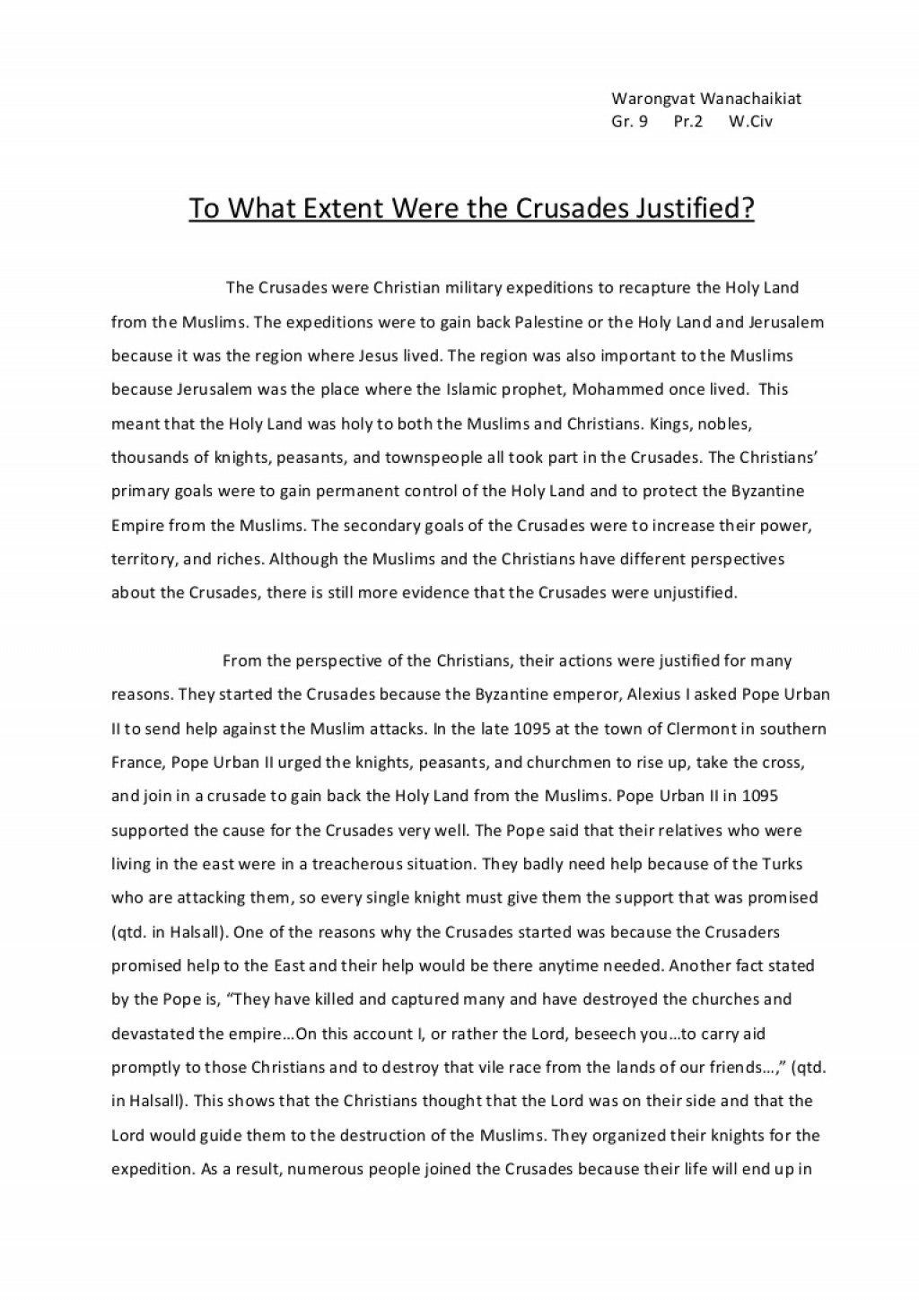 001 Crusades Essay Towhatextentwerethecrusadesjustified Phpapp01 Thumbnail Awful Summary Impact Of The Dbq Hook Large