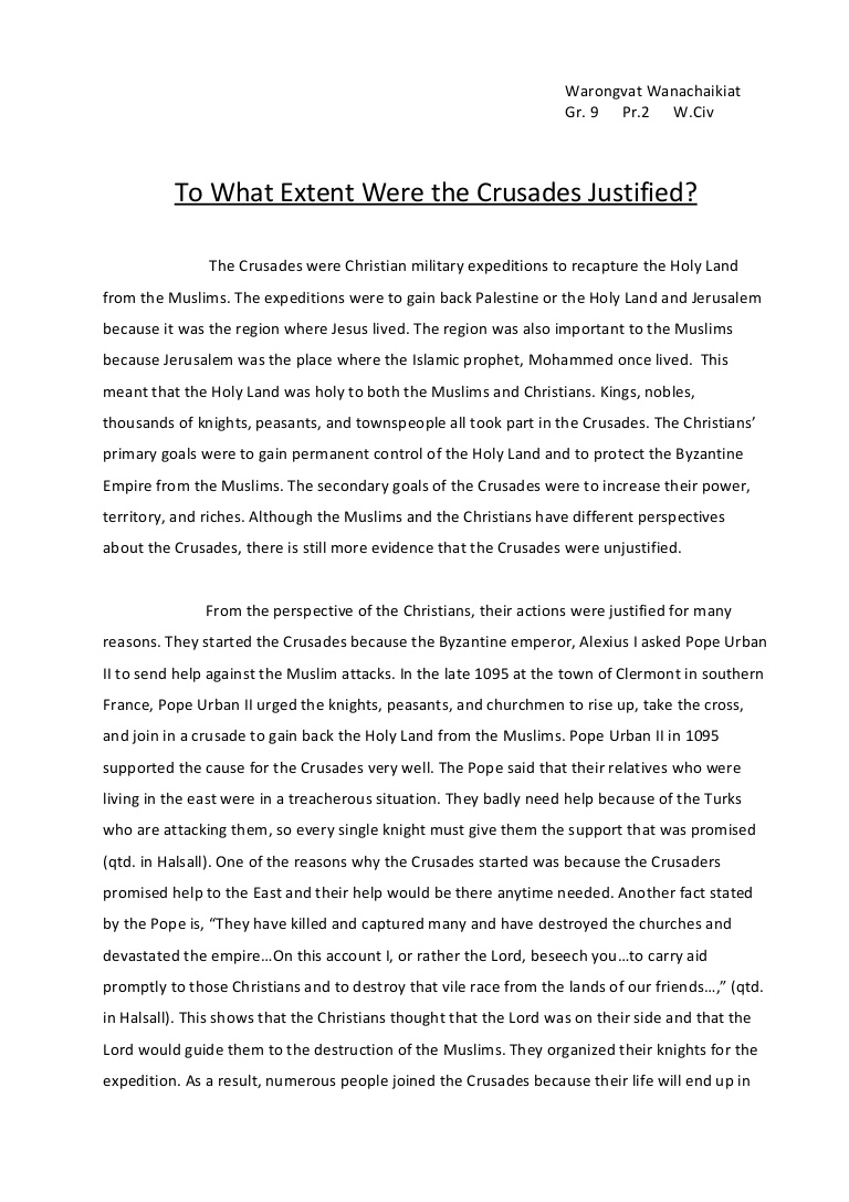 001 Crusades Essay Towhatextentwerethecrusadesjustified Phpapp01 Thumbnail Awful Summary Impact Of The Dbq Hook Full