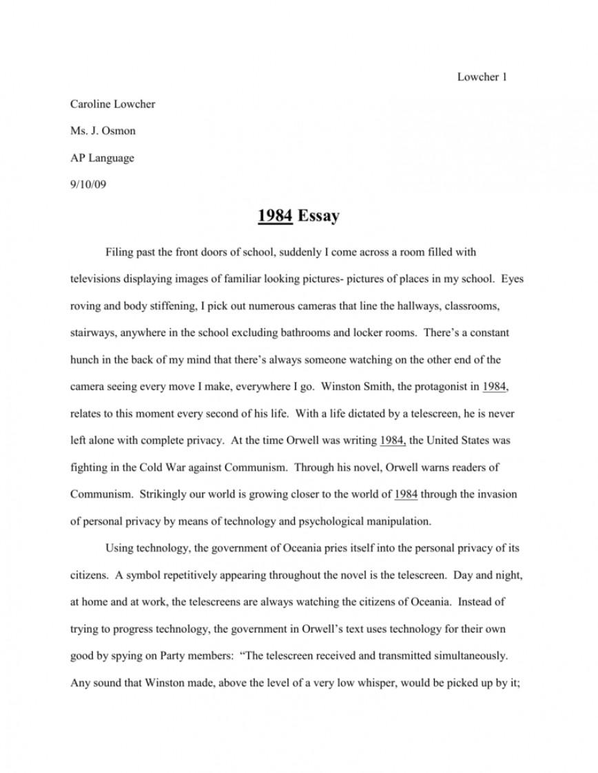 001 Essay 008042438 1 Impressive 1984 Book Questions Titles Paper Ideas