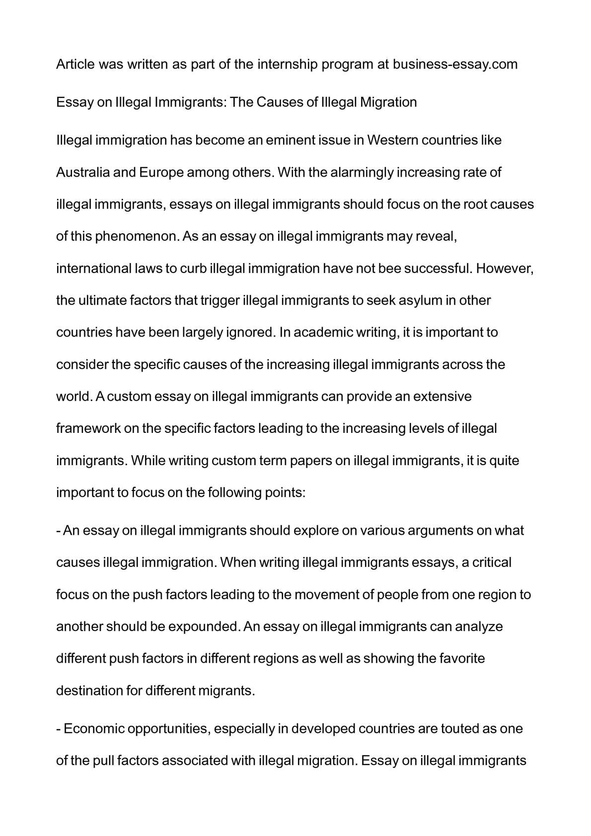 immigration reform cause and effect