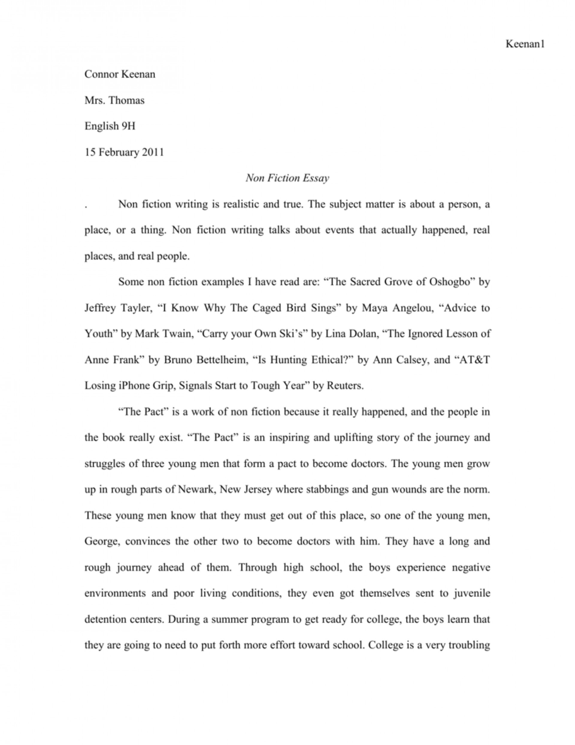 001 Essay Example 008040169 1 Imposing Fiction English 102 Writing Prompts For Middle School High 1920