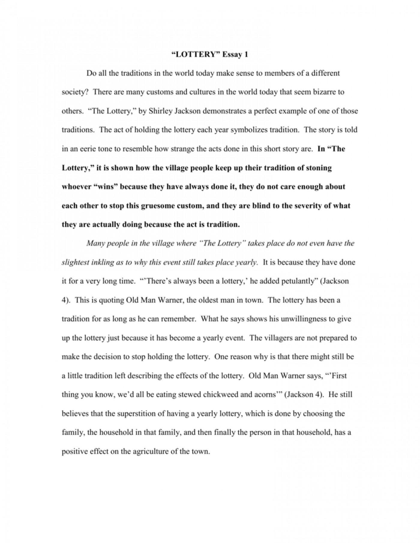The lottery by shirley jackson essay essay