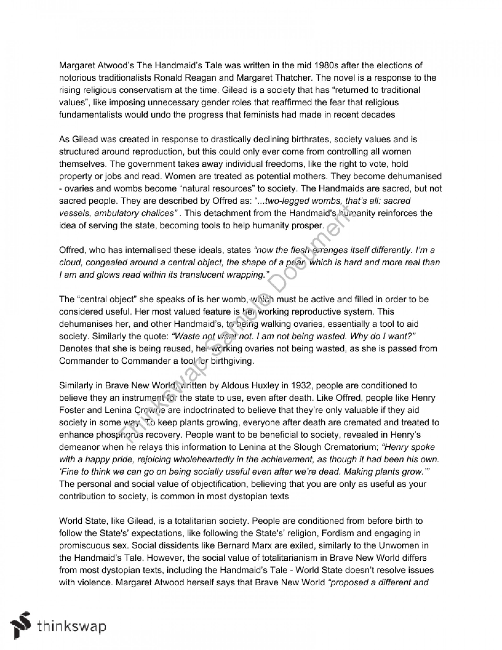 001 Essay Example 53179 Extensionassignment21 The Handmaids Astounding Tale Handmaid's On Religion Pdf Thesis 1920