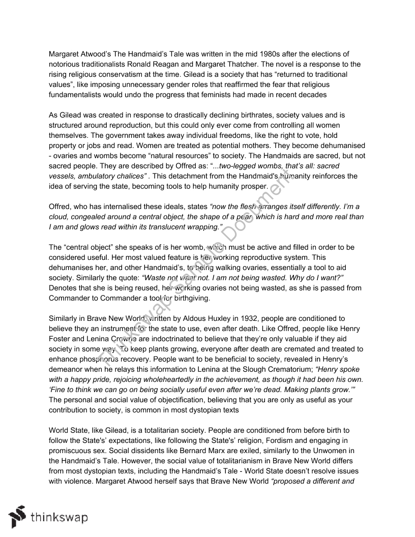 001 Essay Example 53179 Extensionassignment21 The Handmaids Astounding Tale Handmaid's On Religion Pdf Thesis Full