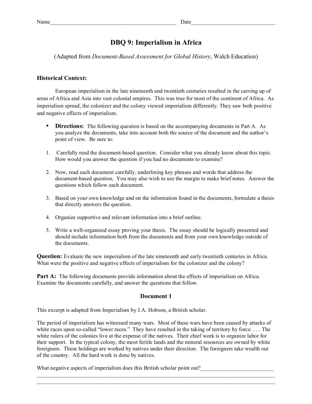 001 Essay Example African Stunning Imperialism South Large