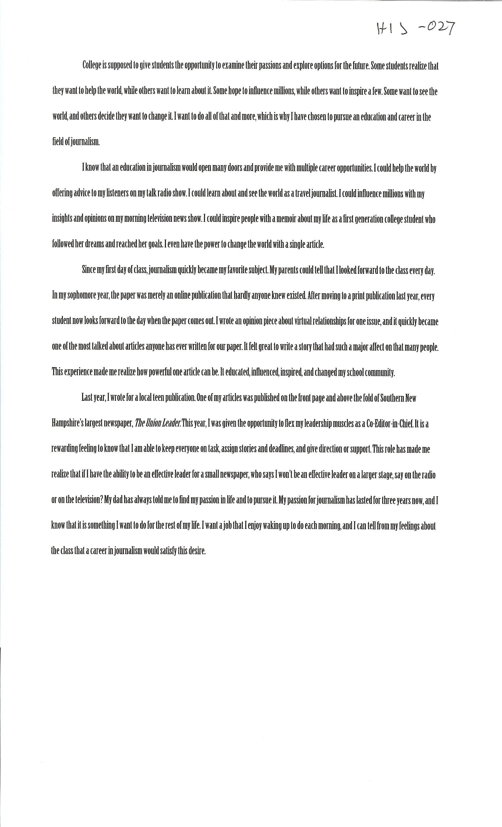 001 Essay Example Alexa Serrecchia Questbridge Stirring Essays College Match That Worked Full