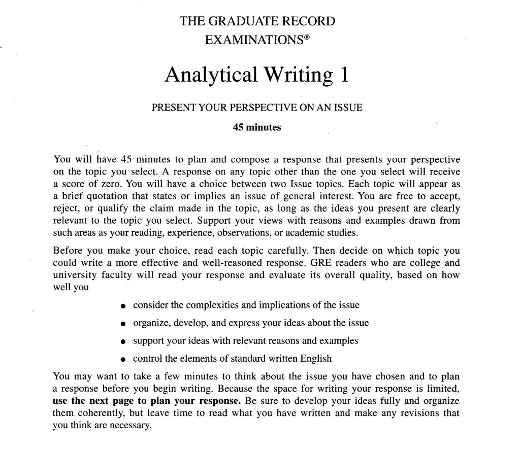 001 Essay Example Analytical20writing20issue20task20directions20for20gre201 Gre Unbelievable Examples Issue 6 Awa Large