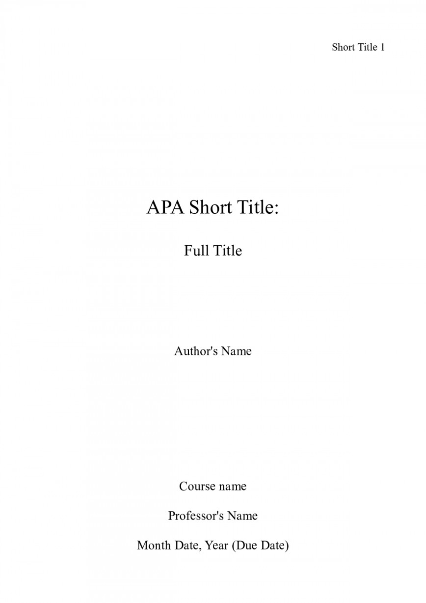 001 Essay Example Apa Title Page Sample What Is Cover For Awesome A An How Should Look Does Two Like