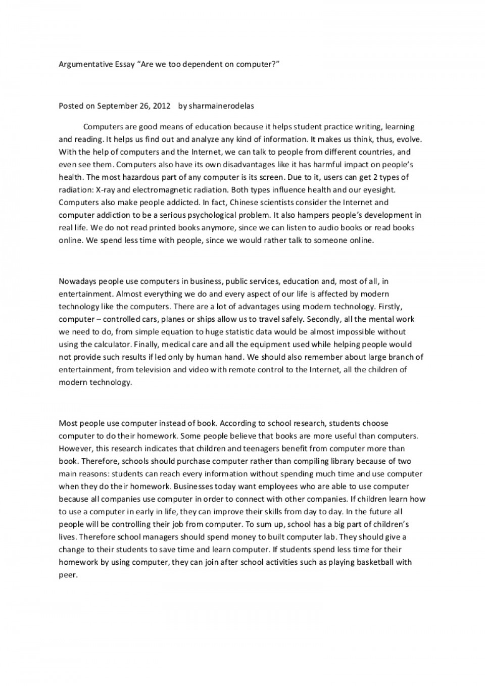 001 Essay Example Argumentative About Technology Argumentativeessay Phpapp01 Thumbnail Best Pdf Advantages And Disadvantages 960