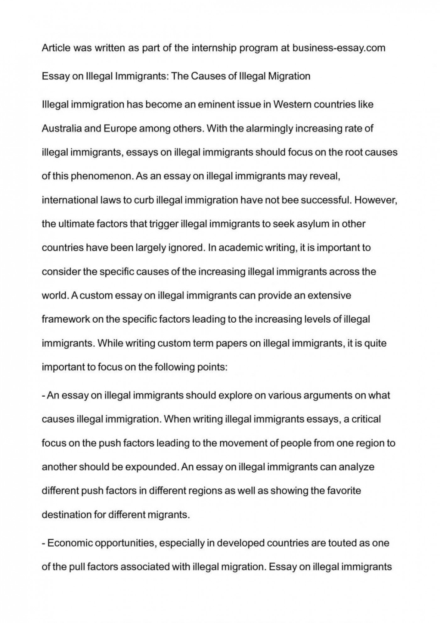 001 Essay Example Argumentative On Immigration Illegal Examp Exceptional Examples Pro Outline 1400