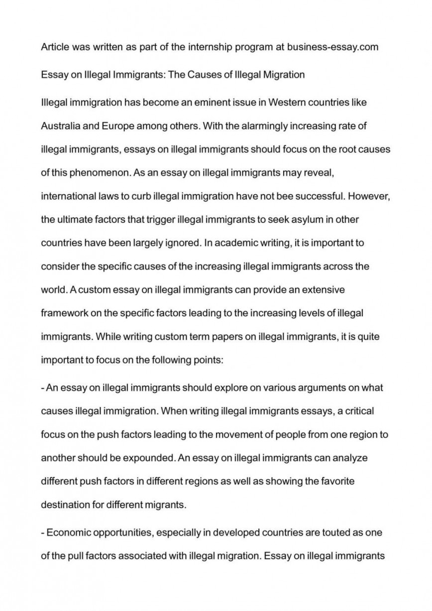 001 Essay Example Argumentative On Immigration Illegal Examp Exceptional College Examples Thesis Outline 868
