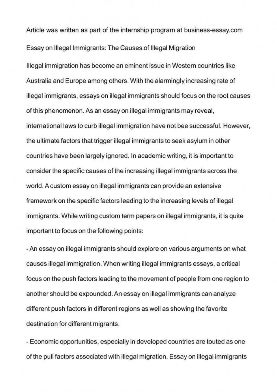 001 Essay Example Argumentative On Immigration Illegal Examp Exceptional Examples Pro Outline 960