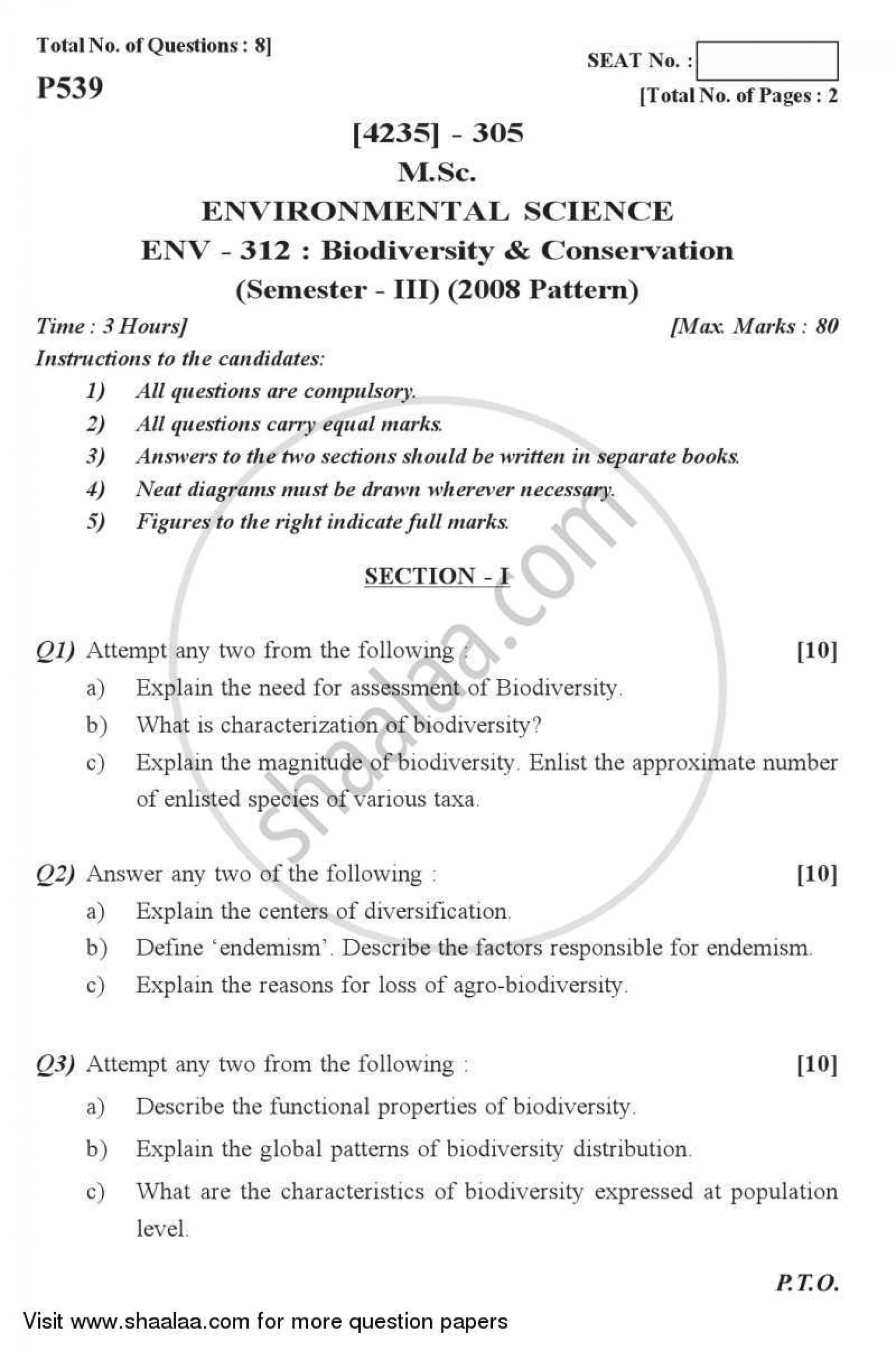 001 Essay Example Biodiversity Topics University Of Pune Master Msc Conservation Environmental Science Semester 2013 2101f4167960044618caf40eb408c72b0 Phenomenal Questions 1920