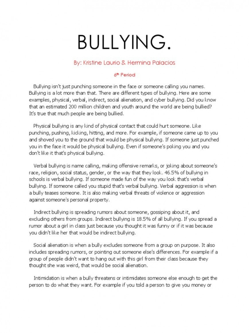 001 Essay Example Bullying Bully Essays About Co Awful Cyber Outline Creative Titles Anti 868