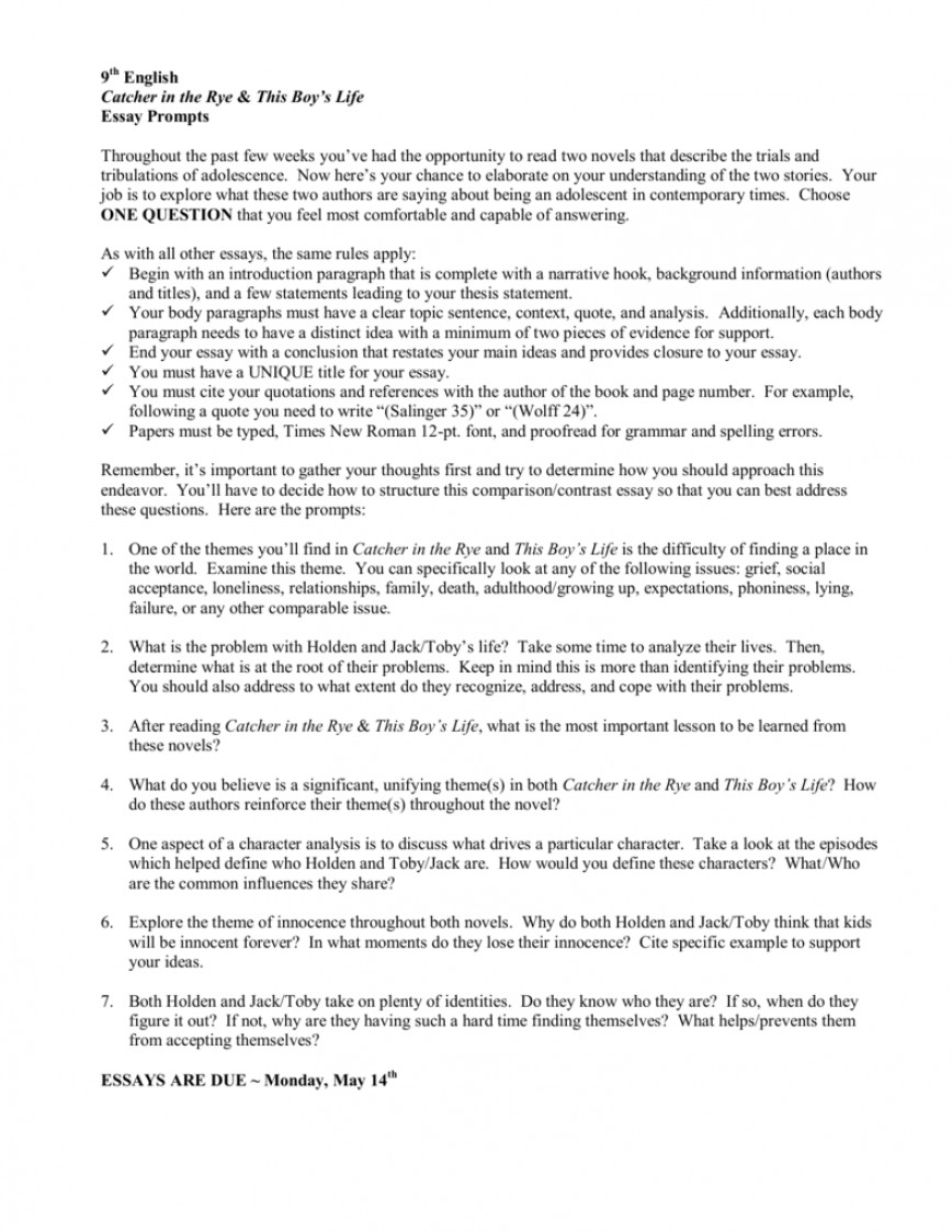 001 Essay Example Catcher In The Rye 008679274 1 Stirring Outline Prompts Topics Pdf