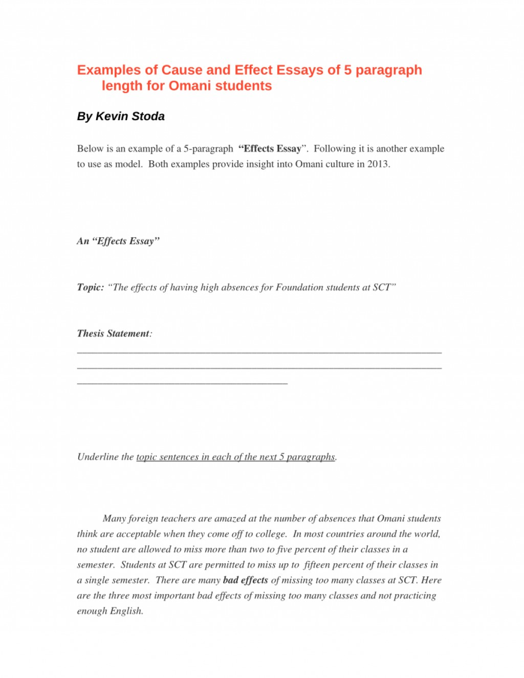 001 Essay Example Cause And Effect Sample Pdf Stunning Template Writing Large