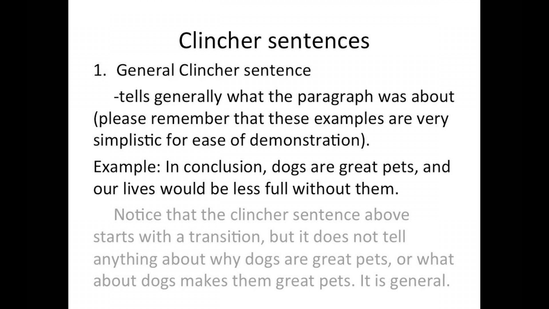 clincher sentence examples