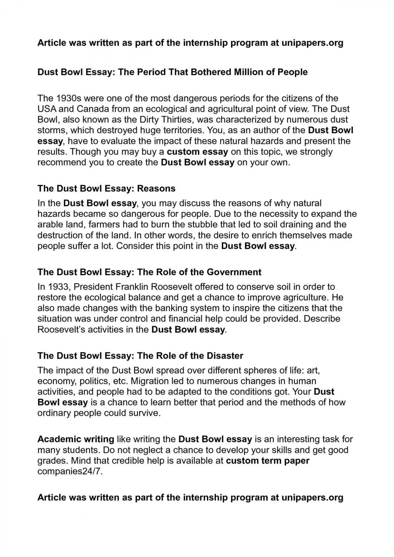 dust bowl essay outline