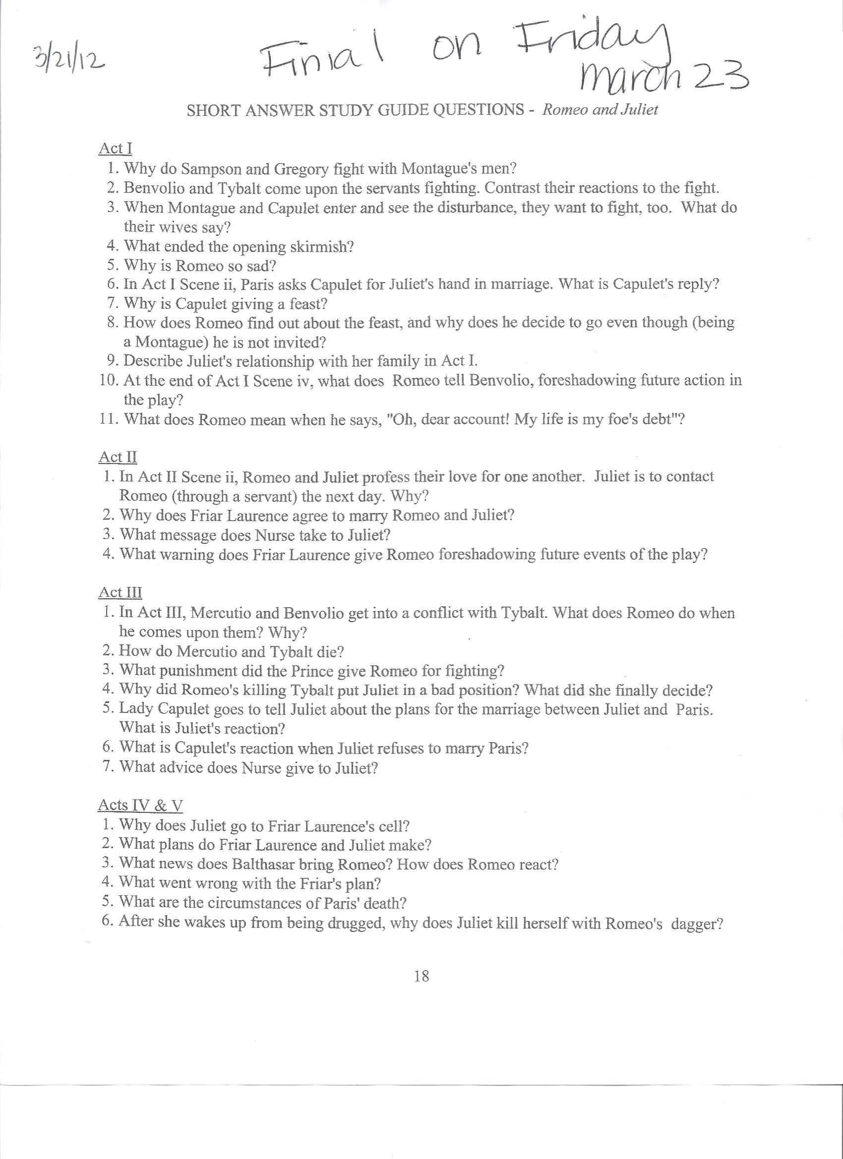 001 Essay Example English201203 21 1220romeo20and20juliet20study20guide Romeo And Juliet Astounding Topics Pdf Questions Grade 10 Answers Full