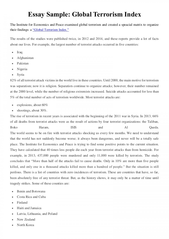001 Essay Example Essaysampleglobalterrorismindex Thumbnail Wonderful Terrorism Topics In English War On 1920