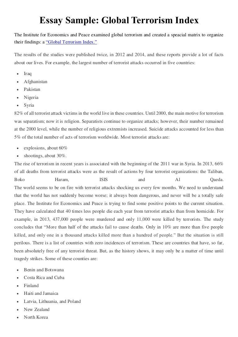 001 Essay Example Essaysampleglobalterrorismindex Thumbnail Wonderful Terrorism Topics In English War On Full
