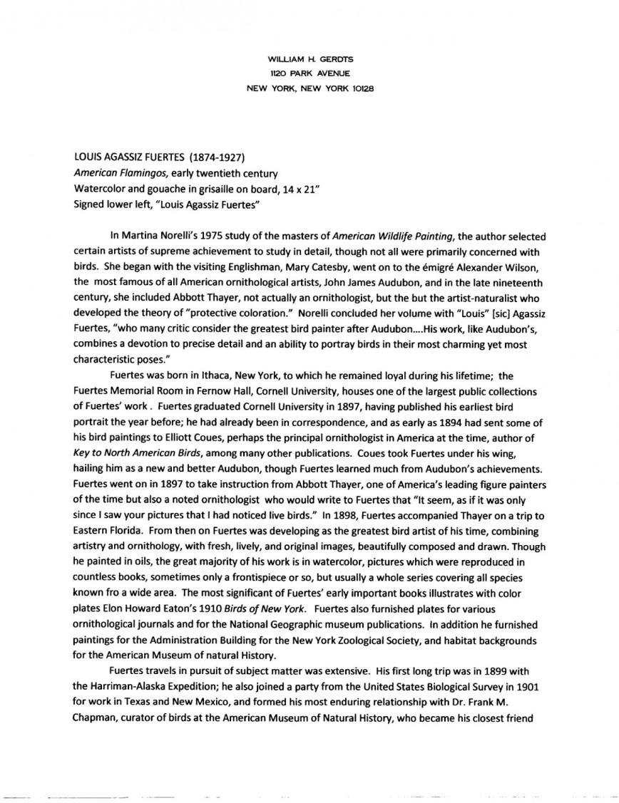 001 Essay Example Fuertes20american20flamingos20001 Graduate Fantastic School Questions Grad Length How To Answer