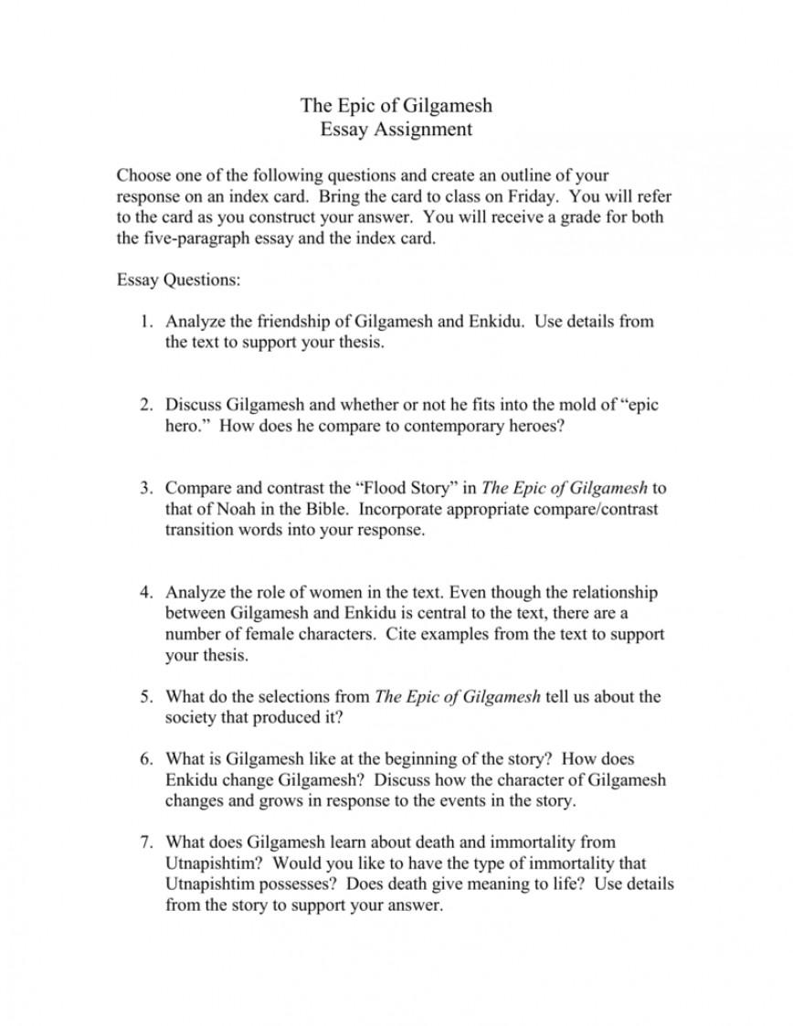 Persuasive essay about gilgamesh