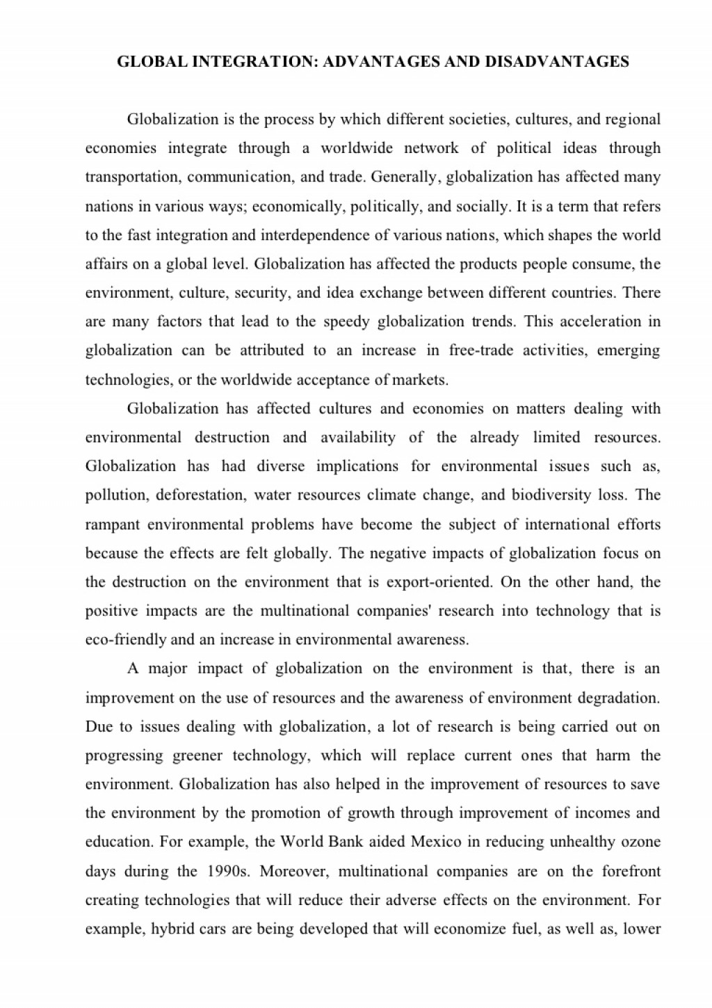 Globalization Is A Good Or Bad Thing Essay