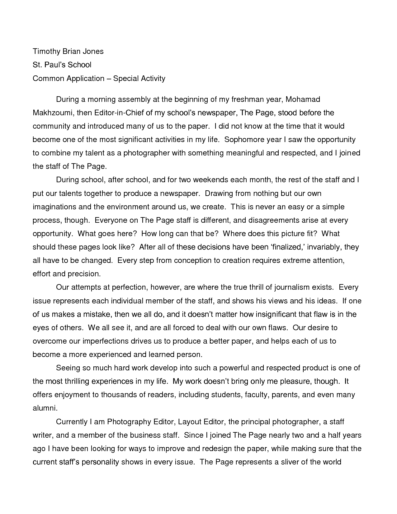 001 Essay Example How To Write High School Fantastic A History For Admission Full