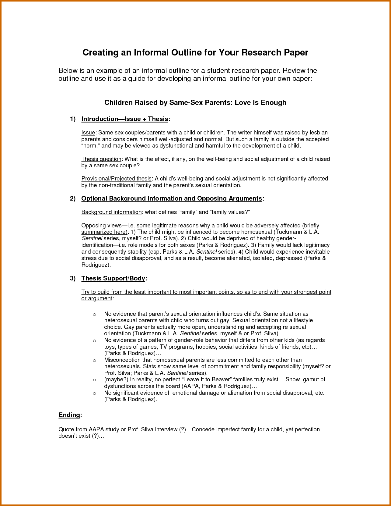 Specific problem in thesis outline