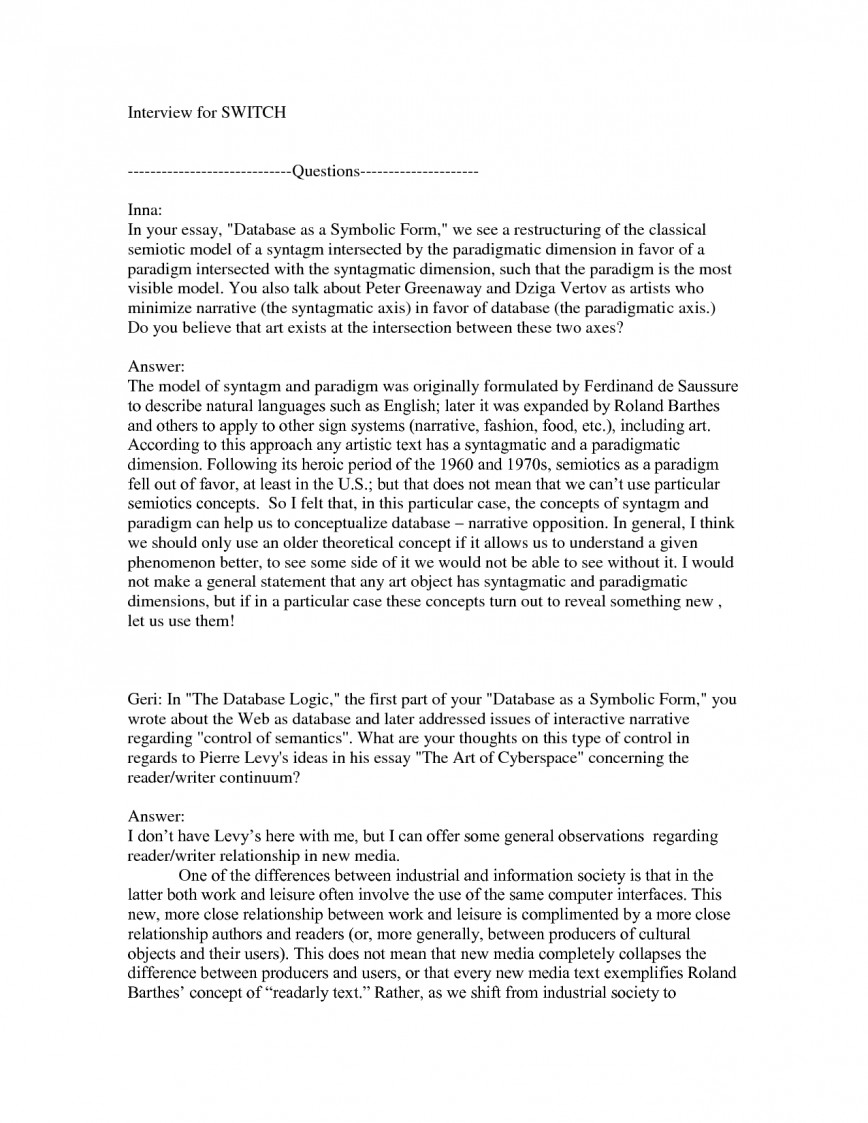 001 Essay Example Interview Format 309247 Exceptional Narrative Outline First Job 868
