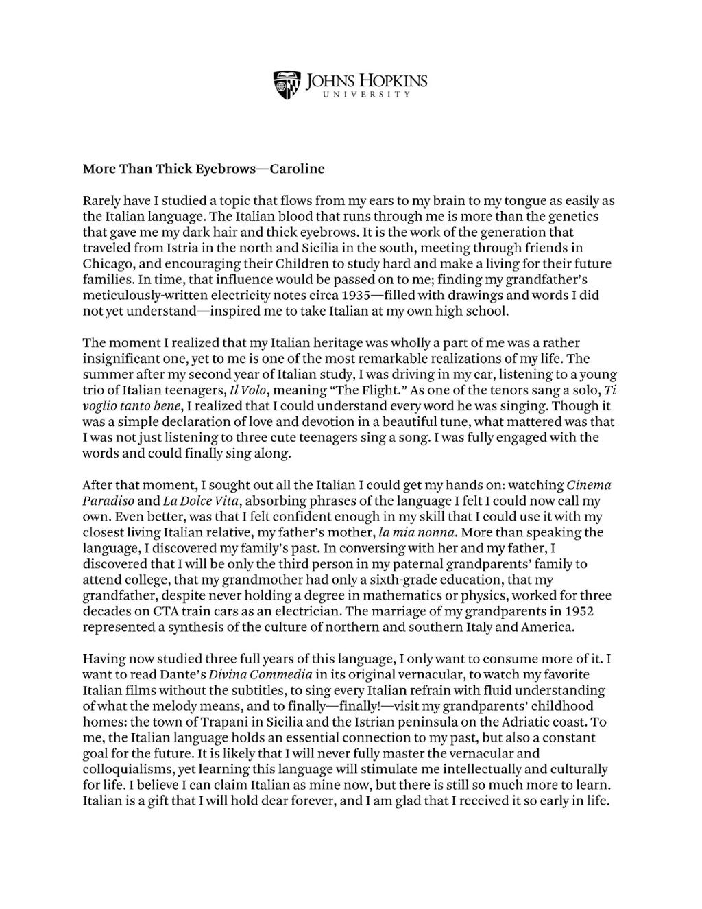 001 Essay Example Johns Hopkins College Remarkable Essays Prompt Full