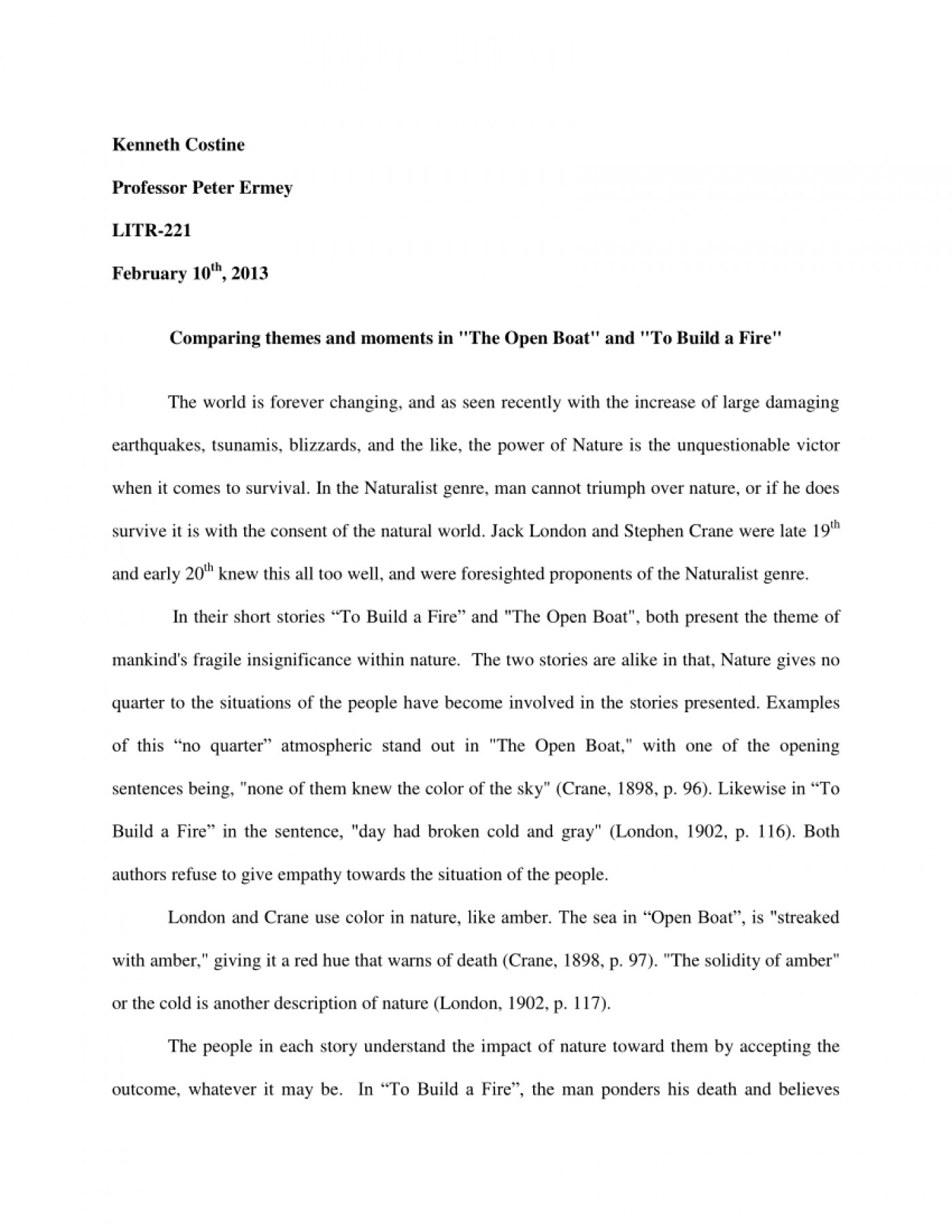 essay about fire
